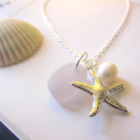 Lavender beachglass Necklace with Starfish & swarovski pearl - Nautical gift for girlfriends, sisters or bridal party FREE SHIPPING