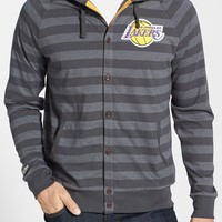 Men's Mitchell & Ness 'Los Angeles Lakers' Stripe Button Front Jersey Hoodie