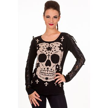 Mexican Sugar Skull & Cross Lace-up Sleeve Sweater