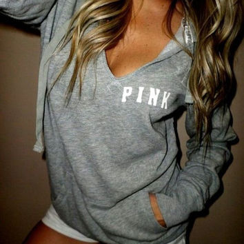 ea025c74e073d Victoria's Secret PINK Women's Fashion Letter Print Hooded Long-sleeves  Pullover Tops Sweater