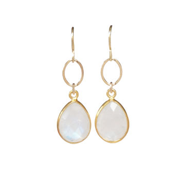 Gold Moonstone Teardrop Dangle Earrings