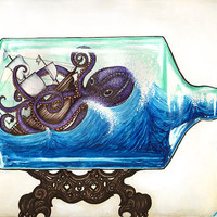 Shipwreck in a Bottle 8x10 archival giclee print by MelodySage