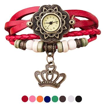 Quartz Weave Around Leather Crown Bracelet Lady Woman Wrist Watch   supper deal   Dec06