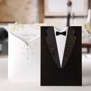 100pcs Printable Customizable Laser Cut Groom and Bride Engagement Wedding Invitation Card