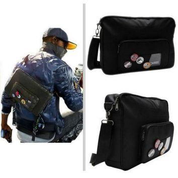 Game Watch Dogs 2  Marcus Holloway Bag Free Badge Unisex Cosplay Costumes Accessories Oxford cloth