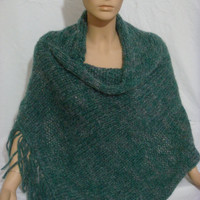 Knitted Dark Green Fringed Elegant Hooded Poncho (Green) by Arzu's Style