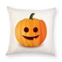 Mayitr 1pc 45*45cm White Orange Pumpkin Pillow Covers Sofa Home Decor Cotton Linen Throw Pillow Case Halloween Cushion Cover