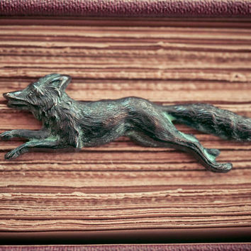 Fox Brooch Vintage Pin Woodland Animal Verdigris Fox Spring Indie Jewelry Natural History