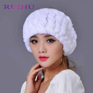 RUIHU Factory Outlet Lady New Autumn And Winter Rabbit Fur Grass Empty Hat Knit Winter Warm Scarf Collars Caps RHM683