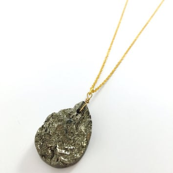Pyrite Necklace,Teardrop, Druzy, Fool's Gold, Raw, Gold Necklace, Wire wrapped, Gemstone, Stone Necklace, Drop, Boho, Gem Necklace