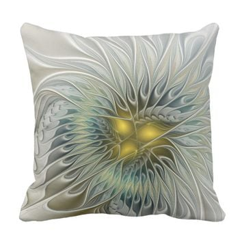 Golden Silver Flower Fantasy abstract Fractal Art Throw Pillow