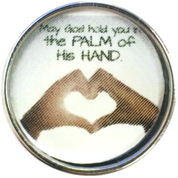 May God Hold You In The Palm Of His Hands Two Hands Making Heart Shape 18MM - 20MM Snap Charm New Item
