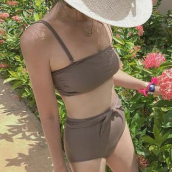 Grey bra, bikini sexy two piece set, high waist covered belly bathing suit, female new style.