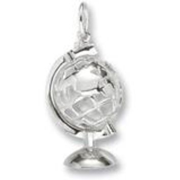 Globe 3D W Stand Charm In 14K White Gold