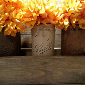 Mason Jar and Planter Box Centerpiece - Kitchen Utensil Set - Painted Mason Jars - Wood Planter Box - Rustic Country Wedding Centerpiece