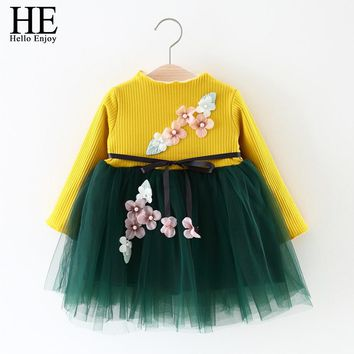 HE Hello Enjoy baby girl clothing winter newborn baby dress long sleeve knit applique lace bow tutu dress kids girls party 0-4T