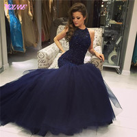 2017 Fashion Navy Blue Beading Prom Dresses Long Evening Party Dress Halter Tulle Zipper Back Floor Length