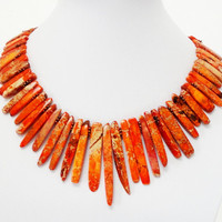 Orange Sea Sediment Jasper Fan Bib Spikes Necklace, Large  Chunky Jasper Spikes Copper Statement Necklace