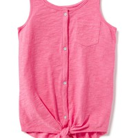 Slub-Knit Button-Front Tank for Girls   Old Navy
