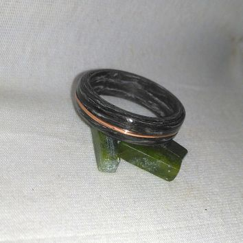 Zebra wood Copper Inlay  Bentwood Ring