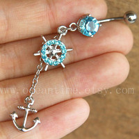 anchor Belly Button Rings,rudder Navel Jewelry,anchor, rudder belly ring,navy jewelry,friendship gift