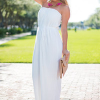 Some Subtlety Pleats Maxi Dress, White