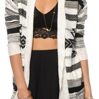 Trillium Black & White Tribal Cardigan