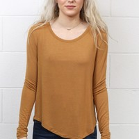 Long Sleeve Soft Rounded Hem Basic {Gold}