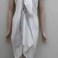 Turkish pestemal towel style sea patterned soft cotton pareo, sarong wrap, swimwear cover up, throw towel, beach towel.