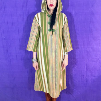 Vintage 70s Moroccan Heavy Cotton Striped Embroidered Knot Button Unisex Hooded Kaftan One Size Fits Most