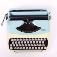 Baby Blue and Yellow Royal Royalite Working Vintage Typewriter