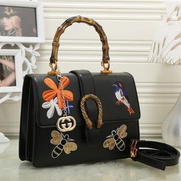 gucci women fashion personality embroidery bee flower bird bamboo festival handbag single shoulder messenger bag