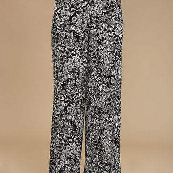 Besame Rapido Black and White Floral Print Wide-Leg Pants