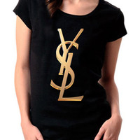 New YSL Yvest Saint Laurent Gold Logo Paris Women Cotton T Shirt - YSW05