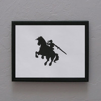 Legend of Zelda   Link and Epona Hand cut black silhouette papercut