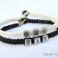 BAE Bracelets for Couples, Black and White Handmade Hemp Jewelry