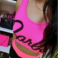 Hot Sexy Women tank Tops Barbie Letter Printed Crop top Ladies Sleeveless Casual Fitness Fashion Tops Tee Ladies F10957