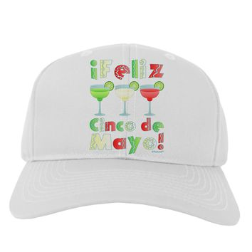 Margaritas - Mexican Flag Colors - Feliz Cinco de Mayo Adult Baseball Cap Hat by TooLoud