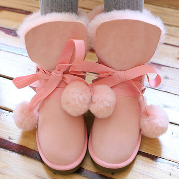 Winter Genuine Leather Women Snow Boots Sweet Lolita Girl Bow Balls Flat Heels Round Toe Warm Fur Ankle Boots