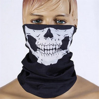 Black Half Face Skull Skeleton Mask Outdoor Motorcycle Bicycle Multifunction Headwear Hat Scarf Neck Scary Halloween Ghost Mask