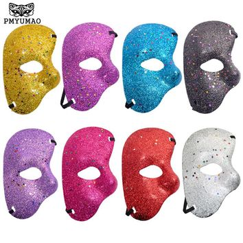 PMYUMAO The Phantom Of the Opera Half Fine Powder White Mask New Listing Mardi Gras Adult Masquerade Men Face Masks