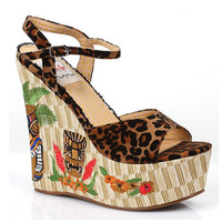 Bettie Page Keke Tiki Wedge Leopard