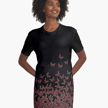 'Butterfly Horde ;) Red on black, insects pattern' Graphic T-Shirt Dress by cool-shirts