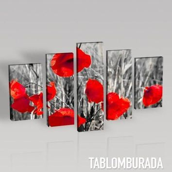 Large Wall Art CANVAS PRINT- Red Poppies on Black and White Theme Canvas Printing + Art Canvas Print + 5 Panel + Ready to Hang - MC64
