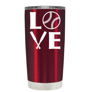 TREK Softball Love on Translucent Red 20 oz Tumbler Cup