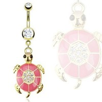 "Belly Button Ring Gold IP Over 316L Surgical Steel Pink Epoxy Paved Gem Turtle Navel Ring Dangle Body Jewelry 14g 3/8"" HO790"