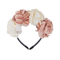 Be Unique Bowtique, Handmade Silk Flower Petals Champagne and Ivory Crown Comfortable Plastic Headband with Teeth for Big Girls for Holiday and Special Occassions