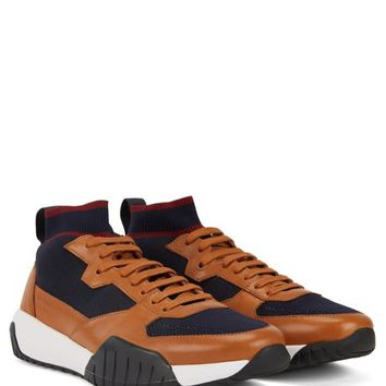 BOSS - High-top sock sneakers with calf-leather trims