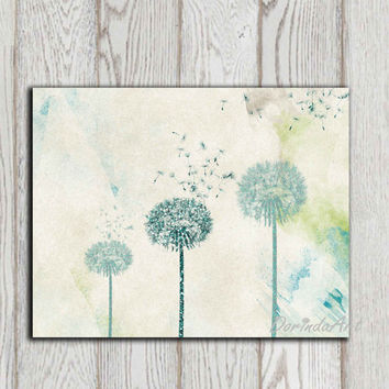 Dandelion printable Teal Dandelion Wall art Home decor print Bedroom wall decor Poster Abstract Glitter flower Office decor INSTANT DOWNLOAD