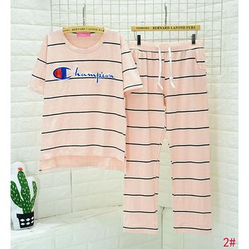 Champion Fashion Women Casual Embroidery Short Sleeve Top Pants Trousers Pink Stripe Nightgown Pyjamas Set Two-Piece 2# I13432-1